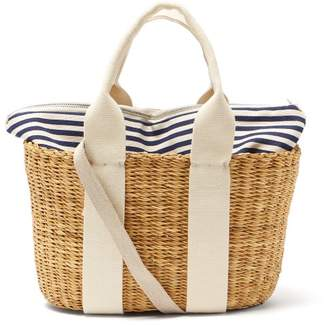 Muun Caba Mini Canvas And Woven Straw Bag - Womens - Navy Multi