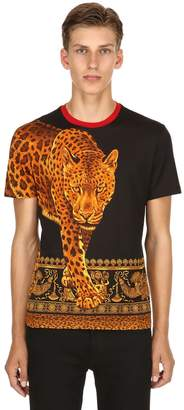 Versace Leopard Printed Cotton Jersey T-Shirt