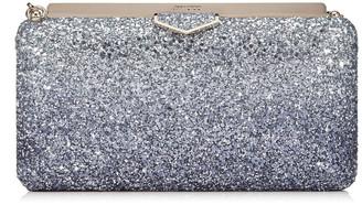 Jimmy Choo ELLIPSE Navy and Silver Coarse Glitter Degrade Clutch Bag
