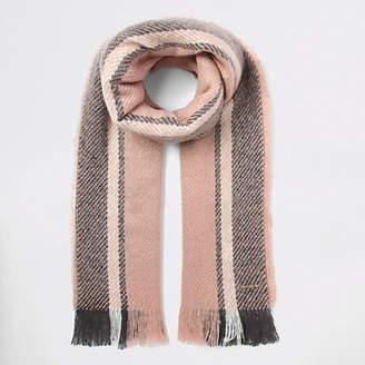 River Island Womens Pink stripe fluffly scarf