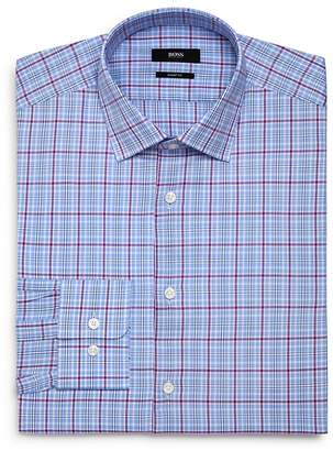 BOSS Checked-Plaid Regular Fit Dress Shirt