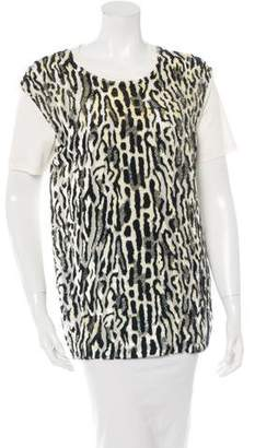 Giambattista Valli Silk Leopard Print Top w/ Tags