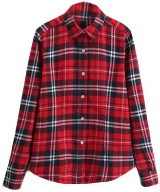 GRMO Women Casual Plaid Cotton Button up Long Sleeve Plus Size Shirt Blouse Tops US 2XL