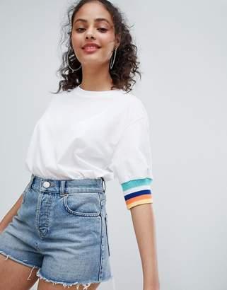 Bershka Contrast Sleeve Detail Tshirt In White