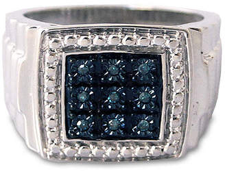 FINE JEWELRY Mens 1/10 CT. T.W. Color-Enhanced Blue Diamond Sterling Silver Ring