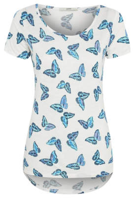 George Butterfly Print Curved Hem Top