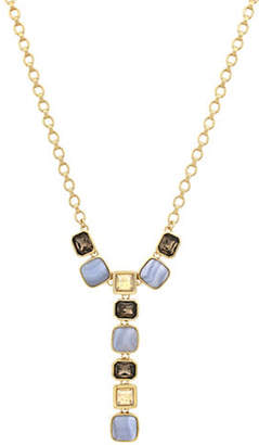 Cole Haan Swarovski Crystal and Blue Lace Agate Y-Necklace