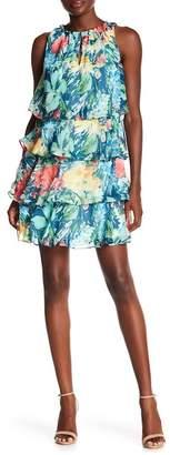 Chetta B High Neck Draped Print Short Dress