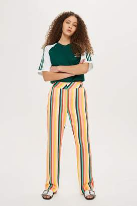 Topshop Rainbow Striped Wide Leg Trousers