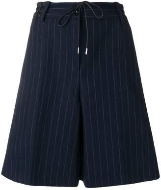 Sacai striped pleated shorts