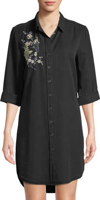 Velvet Heart Embroidered Chambray Shirtdress