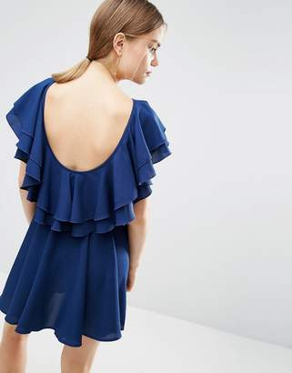 ASOS Soft Ruffle Low Back Skater Mini Dress $49 thestylecure.com