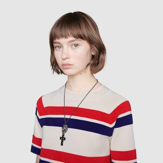 Gucci Lion head necklace with cross