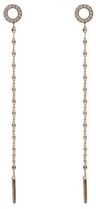 Lana 14K Yellow Gold Pave Diamond Circle Linear Chain Drop Earrings - 0.14 ctw