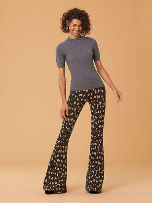 Diane von Furstenberg Short-Sleeve Mock Neck Cashmere Knit Pull Over