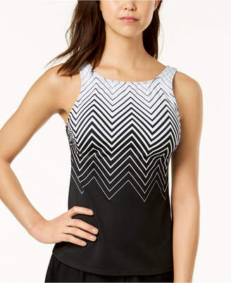Reebok Electric Express Printed High-Neck Tankini Top, Created for Macy's Women's Swimsuit