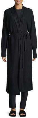 Vince Side-Slit Long Cashmere Robe Cardigan