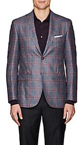 Piattelli MEN'S CHECKED SILK-CASHMERE TWO-BUTTON SPORTCOAT-GRAY SIZE 40 R