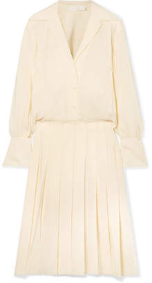Chloé Pleated Silk Crepe De Chine Midi Dress - Ivory
