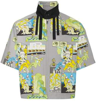 Prada comic print short sleeve Harrington jacket