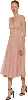 Maria Lucia Hohan Embellished & Pleated Tulle Midi Dress