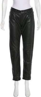 Rag & Bone Leather Mid-Rise Straight-Leg Pants