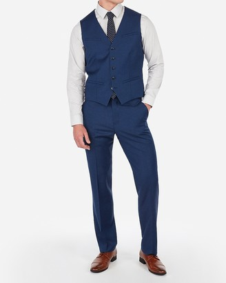 Express Blue Wool-Blend Stretch Suit Vest
