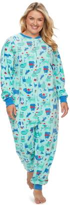 Plus Size Jammies For Your Families Microfleece Dog & Cat Pattern One-Piece Pajamas