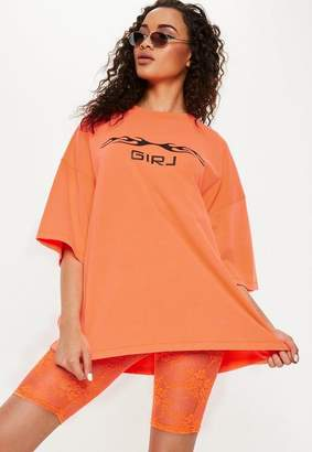 Missguided Orange Lace Cycling Shorts