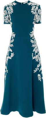 Oscar de la Renta Floral-Embroidered Wool-Blend Midi Dress