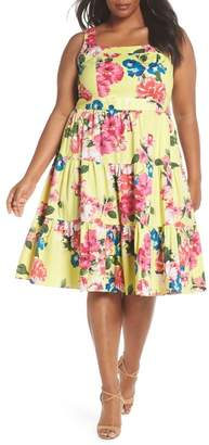 Eliza J Square Neck Floral Tiered Fit & Flare Midi Dress (Plus Size)