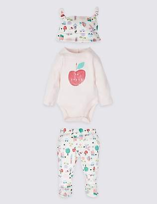 Marks and Spencer 3 Piece Pure Cotton Bodysuit & Leggings with Hat