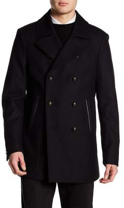 John Varvatos Collection Wool Blend Double Breasted Peacoat