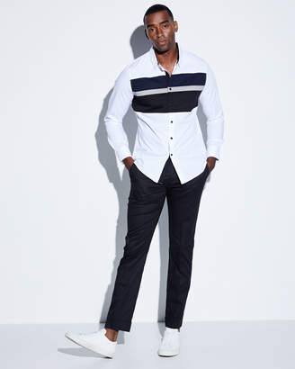 Karl Lagerfeld Paris Men's Colorblocked Poplin Sport Shirt