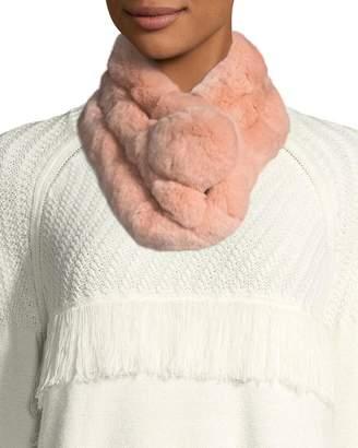 Adrienne Landau Rabbit Fur Pompom Muffler Scarf - Rose