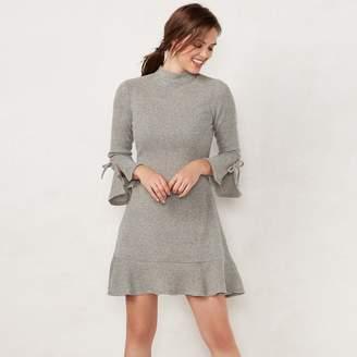 Lauren Conrad Petite Mockneck Flounce-Hem Sweater Dress