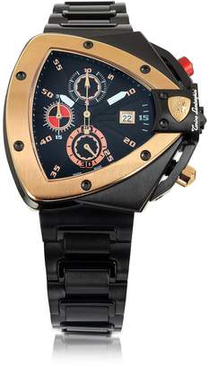 Lamborghini Tonino Black and Rose Gold-tone Stainless Steel Spyder Chronograph Watch