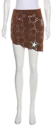 Anthony Vaccarello Leather Embellished Skirt