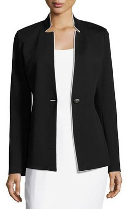 St. John Collection Milano Knit Notch-Collar Jacket, Black/White $995 thestylecure.com