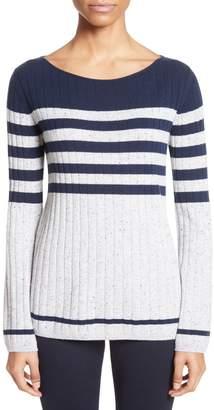 St. John Side Button Stripe Cashmere Sweater