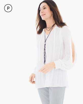 Petite Pleated Cold-Shoulder Top
