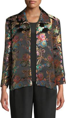 Caroline Rose Jewel Box Jacquard Boxy Topper Jacket, Plus Size