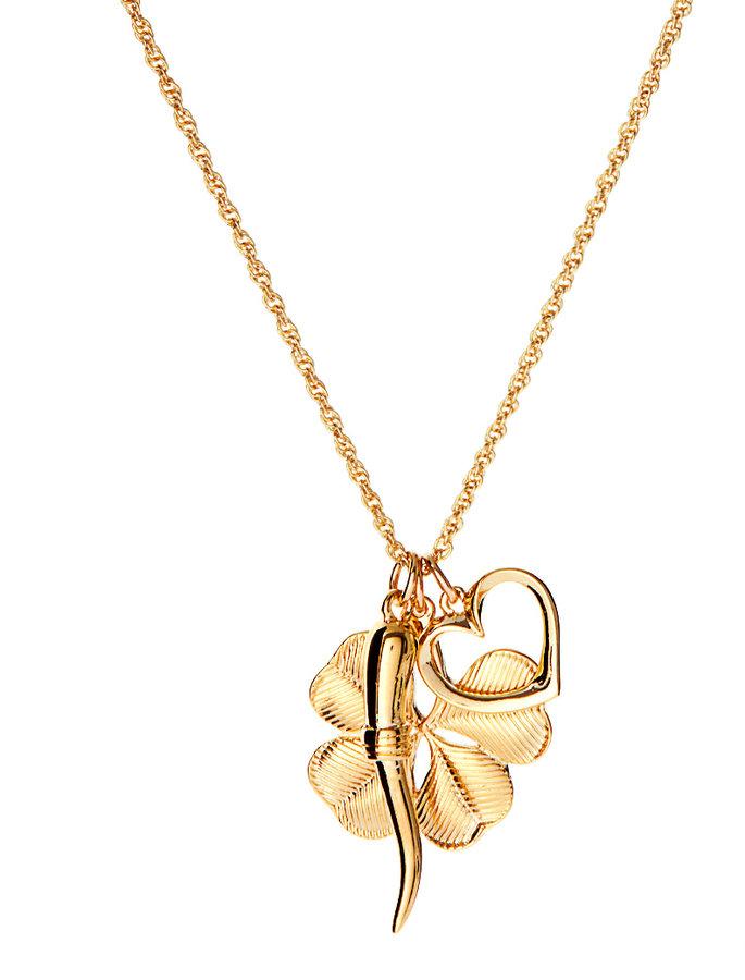 Kenneth Jay Lane Four Leaf Clover Charm Necklace