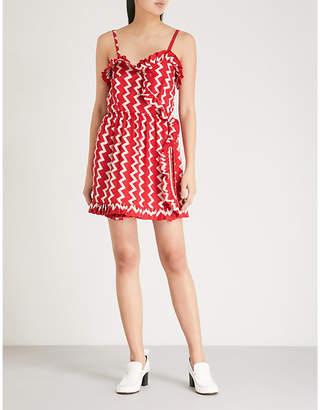 Stella McCartney Zigzag-print tie-waist mini dress