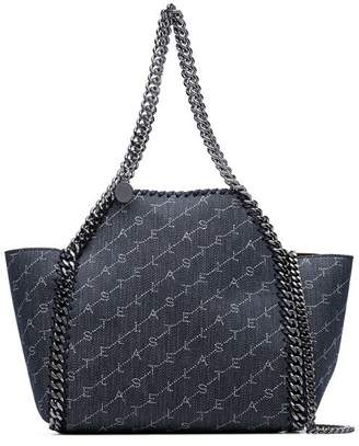 Stella McCartney denim blue Falabella mini chain trim denim tote bag e0305b94de61e