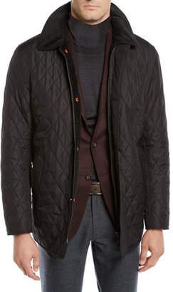 Neiman Marcus Men's Nylon Quilted Zip-Front Coat