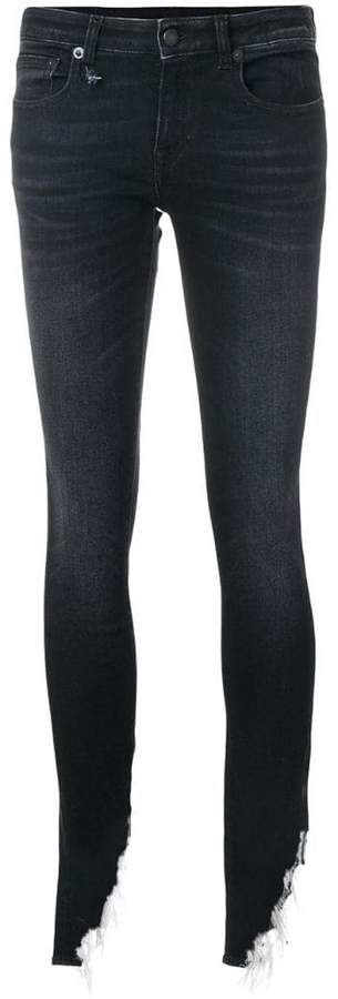 R 13 Kate shredded hem skinny jeans