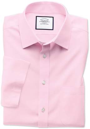 Charles Tyrwhitt Slim Fit Non-Iron Poplin Short Sleeve Pink Cotton Dress Shirt Size 17/Short