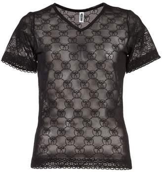 Moschino logo print lace T-shirt