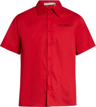 OFF-WHITE Short-sleeved poplin shirt $440 thestylecure.com